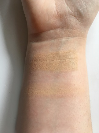 the top swatch is a heavier application and the bottom is only one blended layer